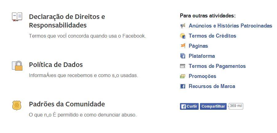 politicas do facebook