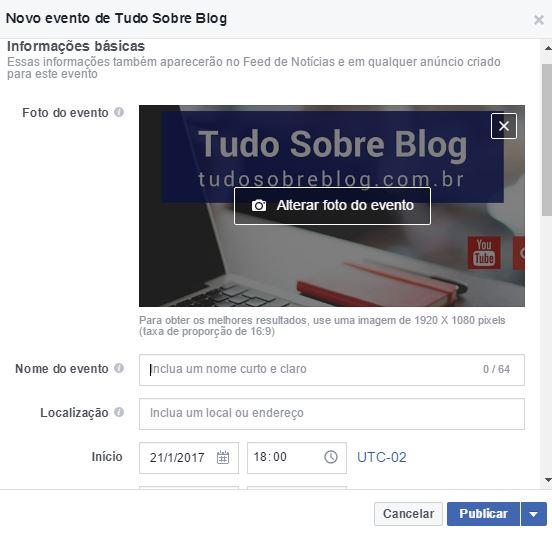 Criar Evento- Como Ganhar Curtidas na Pagina do Facebook