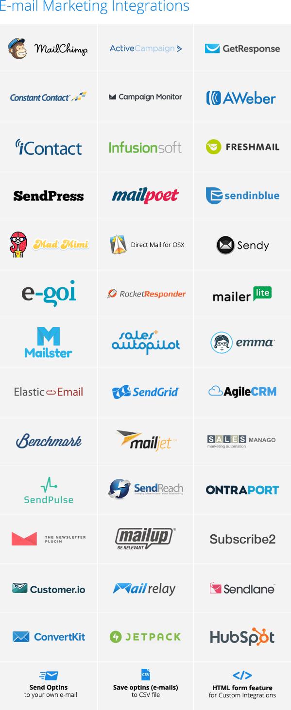 Ninja popups integrações com email marketing